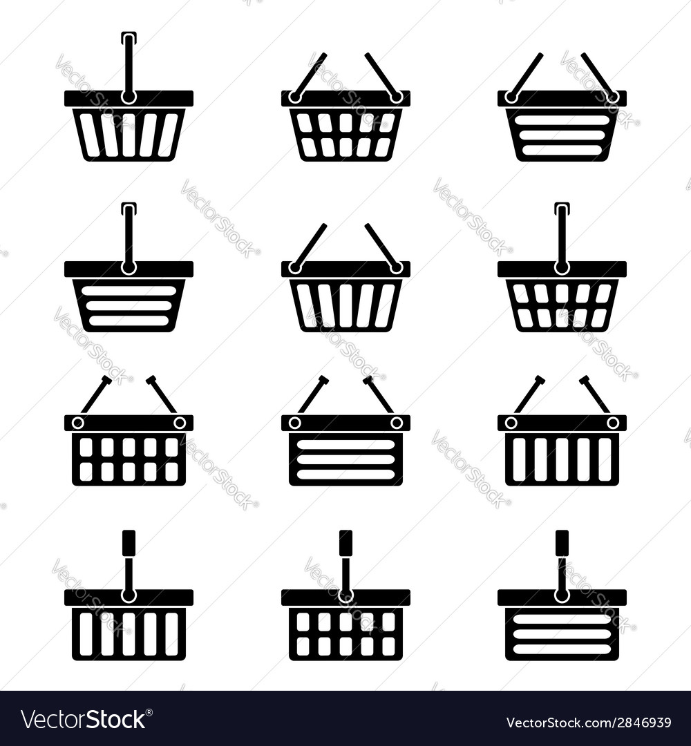 Twelve silhouettes of shopping baskets icons vector | Price: 1 Credit (USD $1)