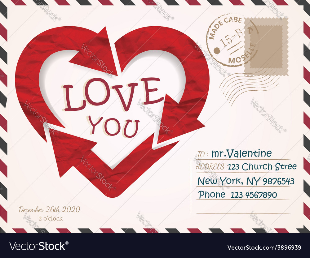 Valentines day postcard card design vector | Price: 1 Credit (USD $1)