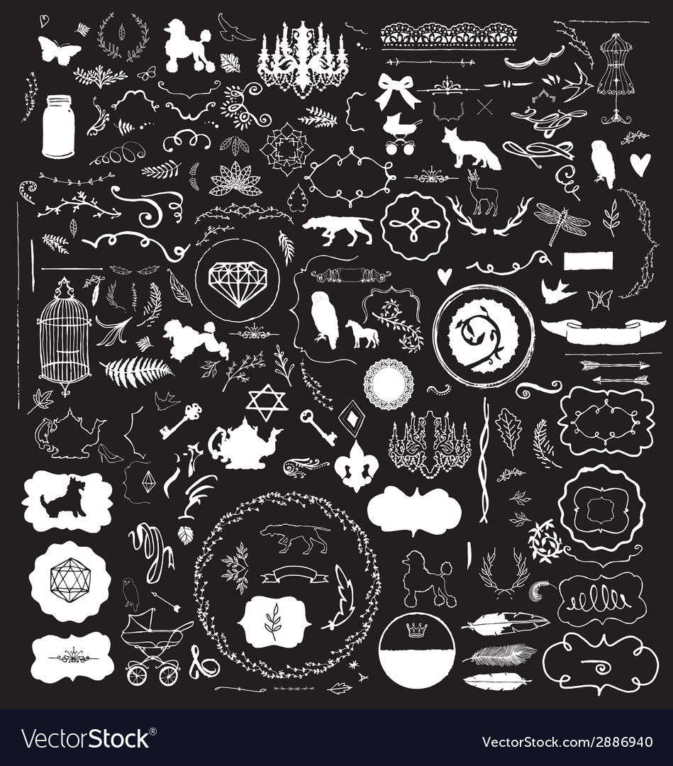 200 hand sketched vintage design elements vector | Price: 1 Credit (USD $1)