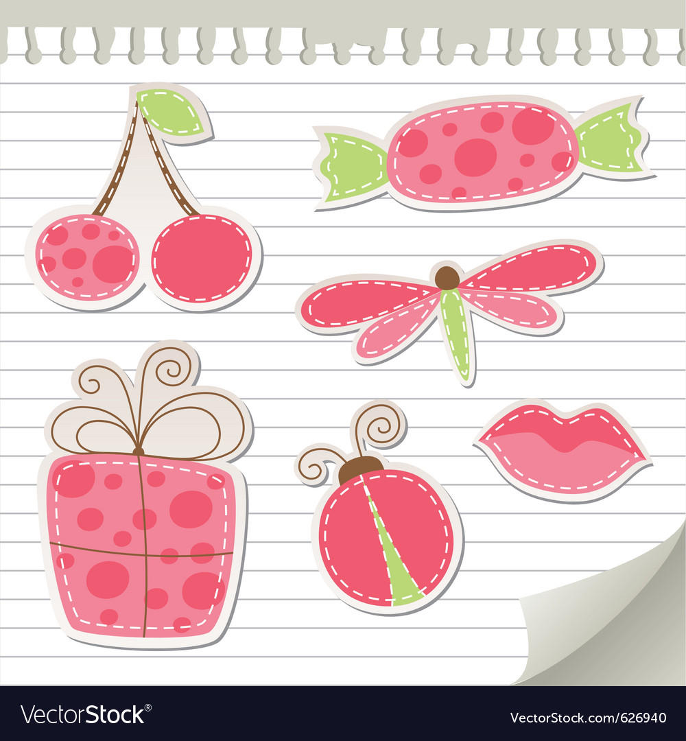 Cute pink stickers vector | Price: 1 Credit (USD $1)