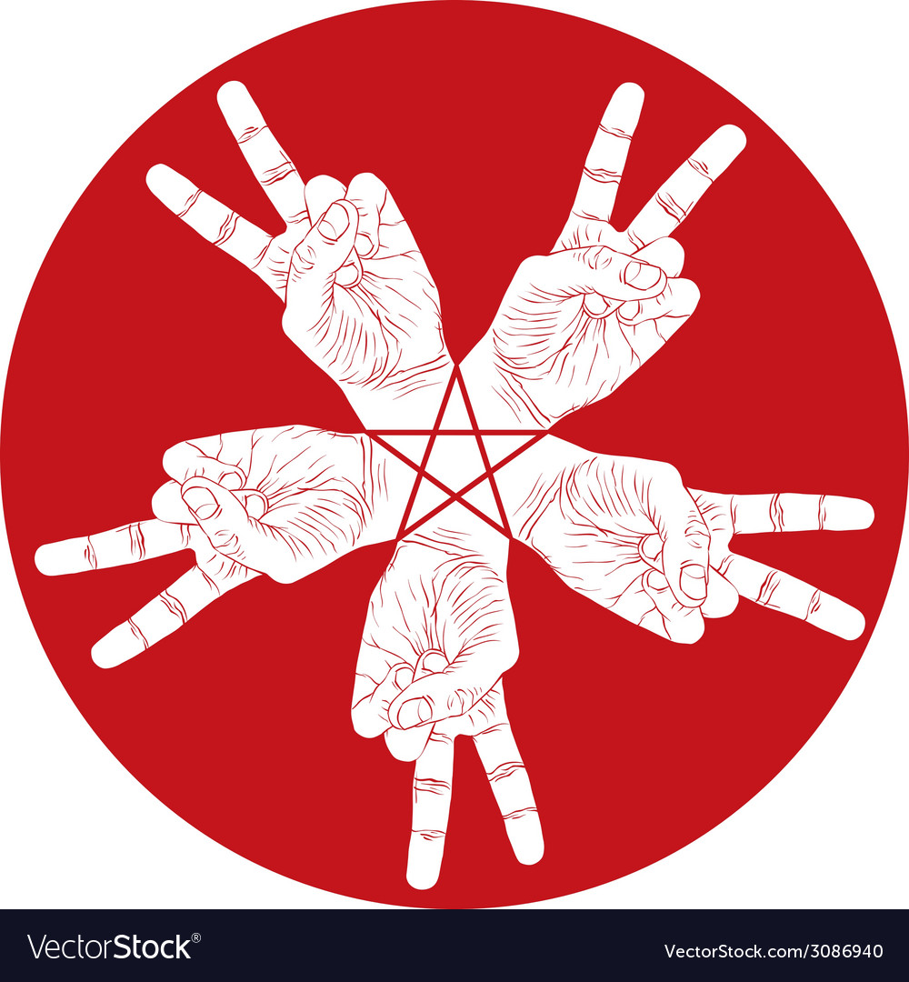 Five victory hands abstract symbol with pentagonal vector | Price: 1 Credit (USD $1)