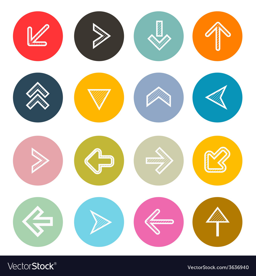 Hatched arrows set in colorful circles vector | Price: 1 Credit (USD $1)