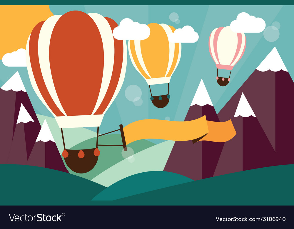Hot air balloons flying over mountains with banner vector | Price: 1 Credit (USD $1)