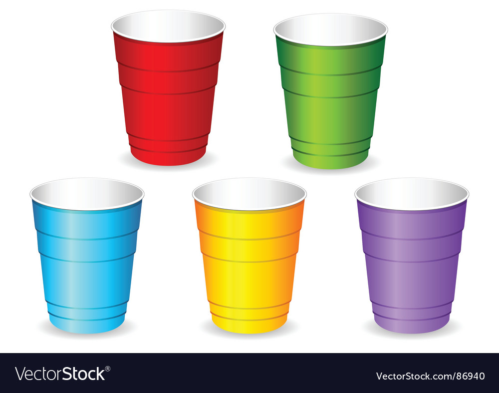 Plastic party cup set vector | Price: 1 Credit (USD $1)