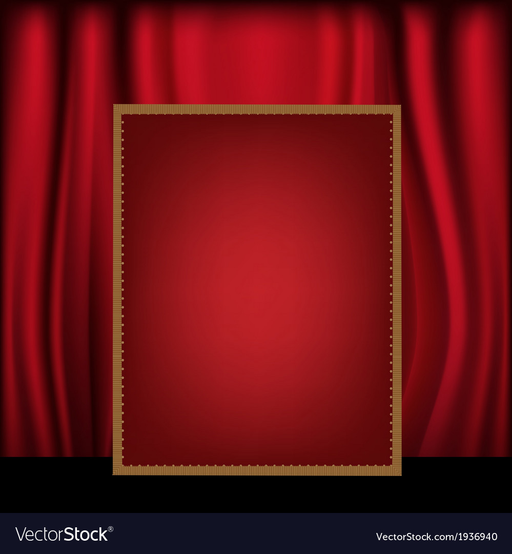 Red curtain background blank billboard vector | Price: 1 Credit (USD $1)