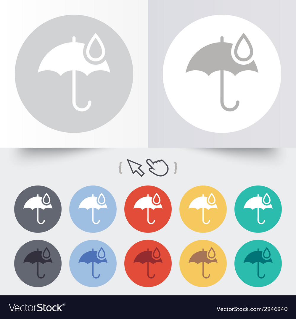 Umbrella sign icon water drop symbol vector | Price: 1 Credit (USD $1)