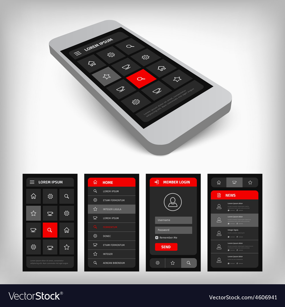 3d visualization of black and red ui vector | Price: 1 Credit (USD $1)