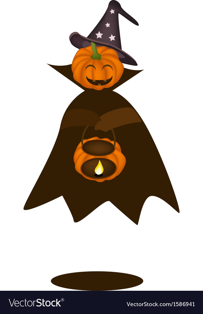 A happy halloween pumpkin with pumpkin basket vector | Price: 1 Credit (USD $1)