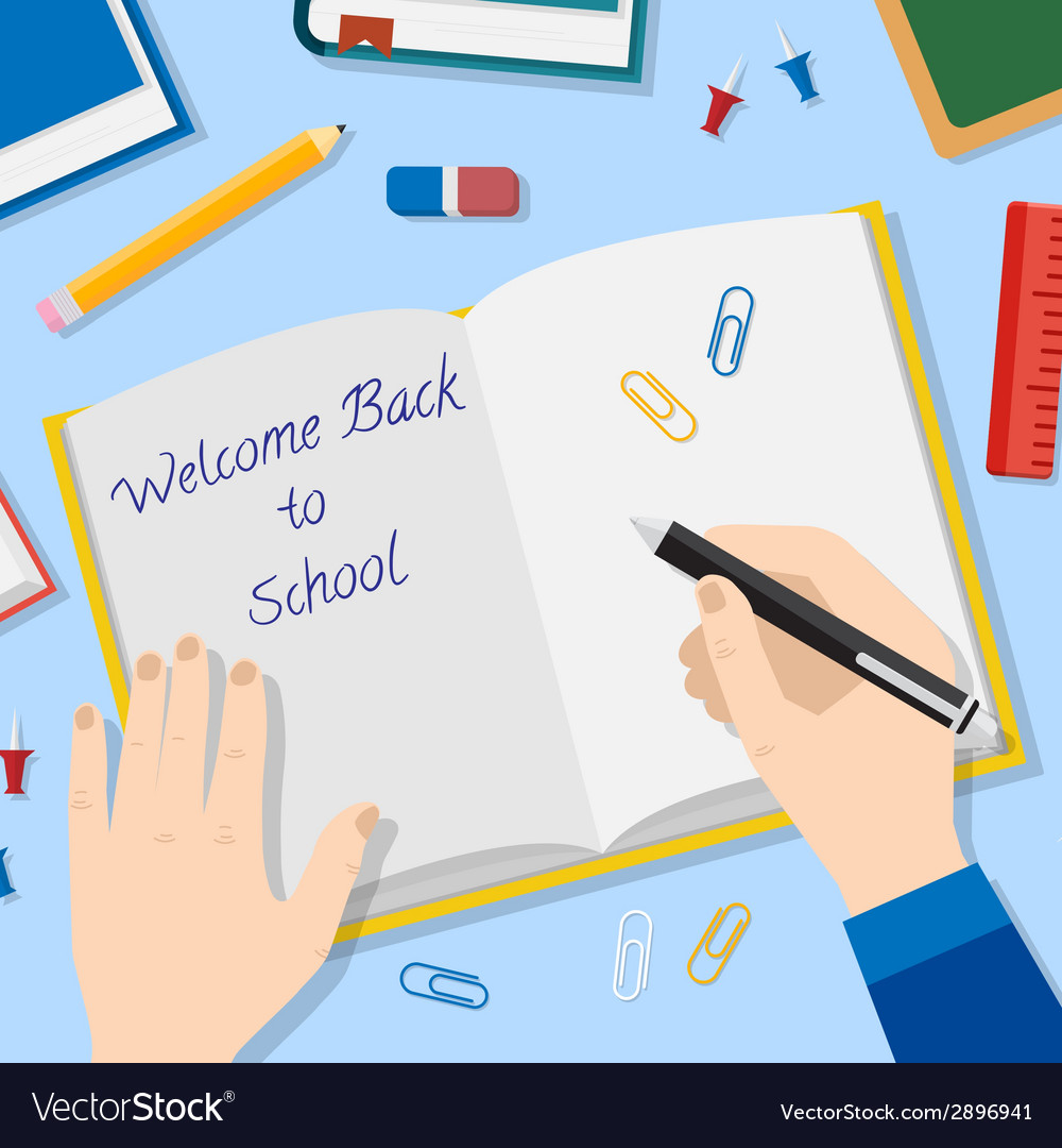 Back to school flat style background with opened vector | Price: 1 Credit (USD $1)