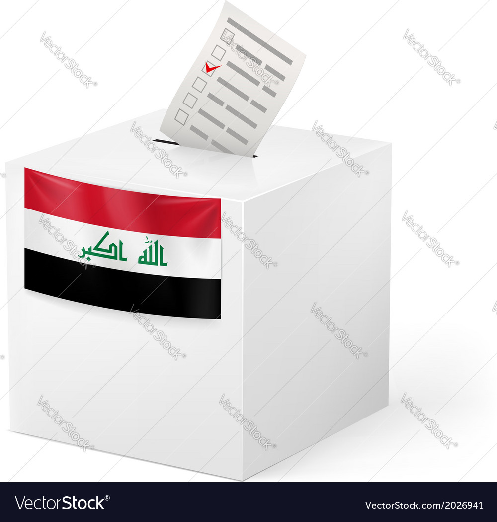 Ballot box with voting paper iraq vector | Price: 1 Credit (USD $1)