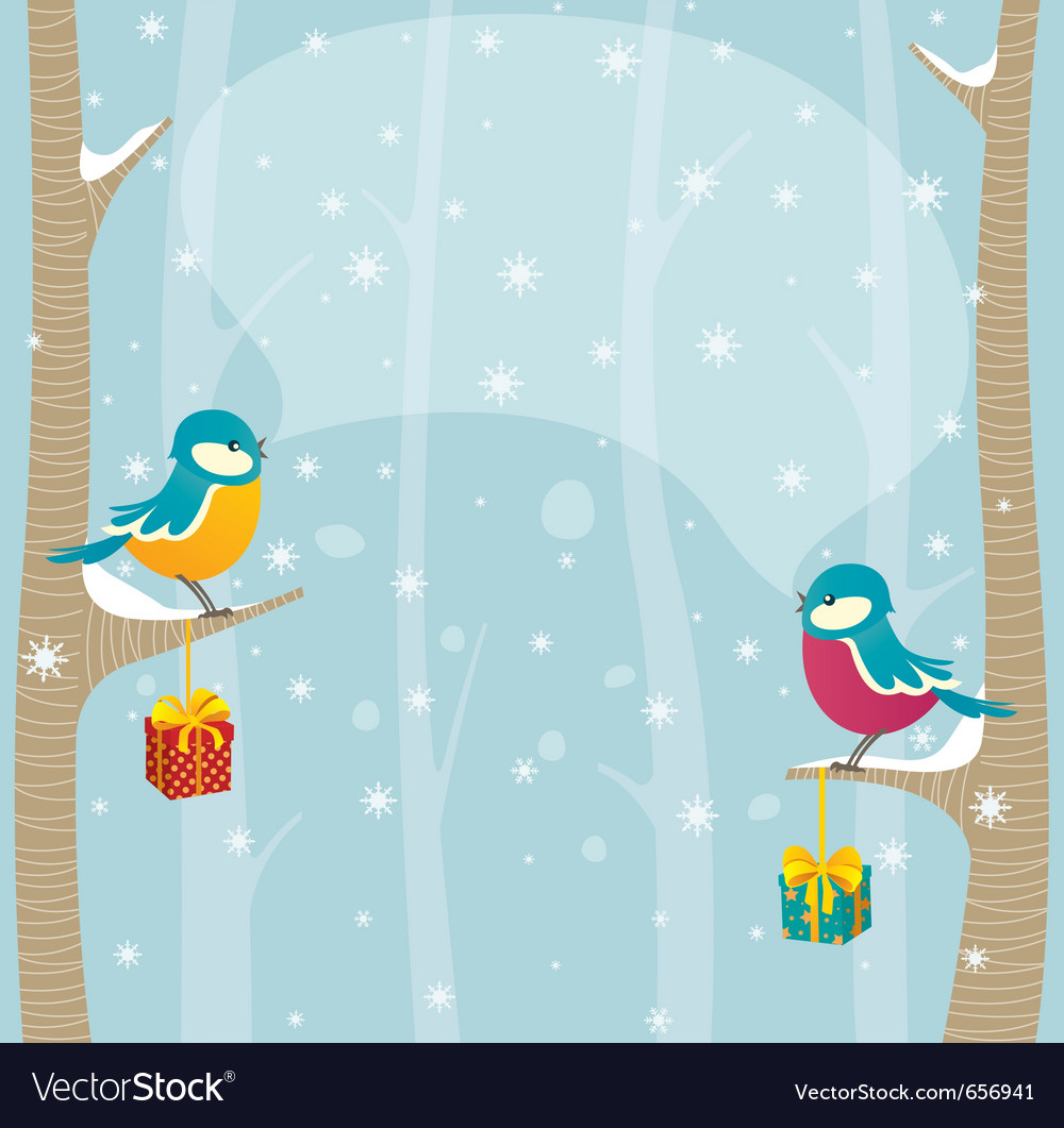 Birds in winter forest vector | Price: 1 Credit (USD $1)