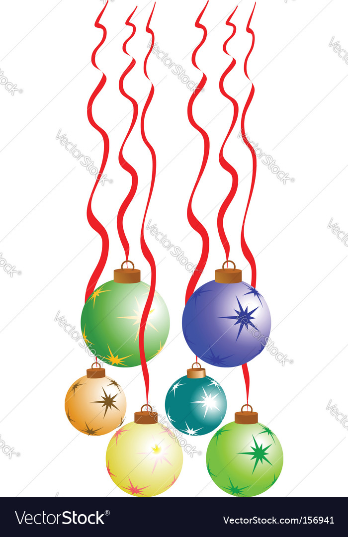 Christmas balls with red ribbon vector | Price: 1 Credit (USD $1)