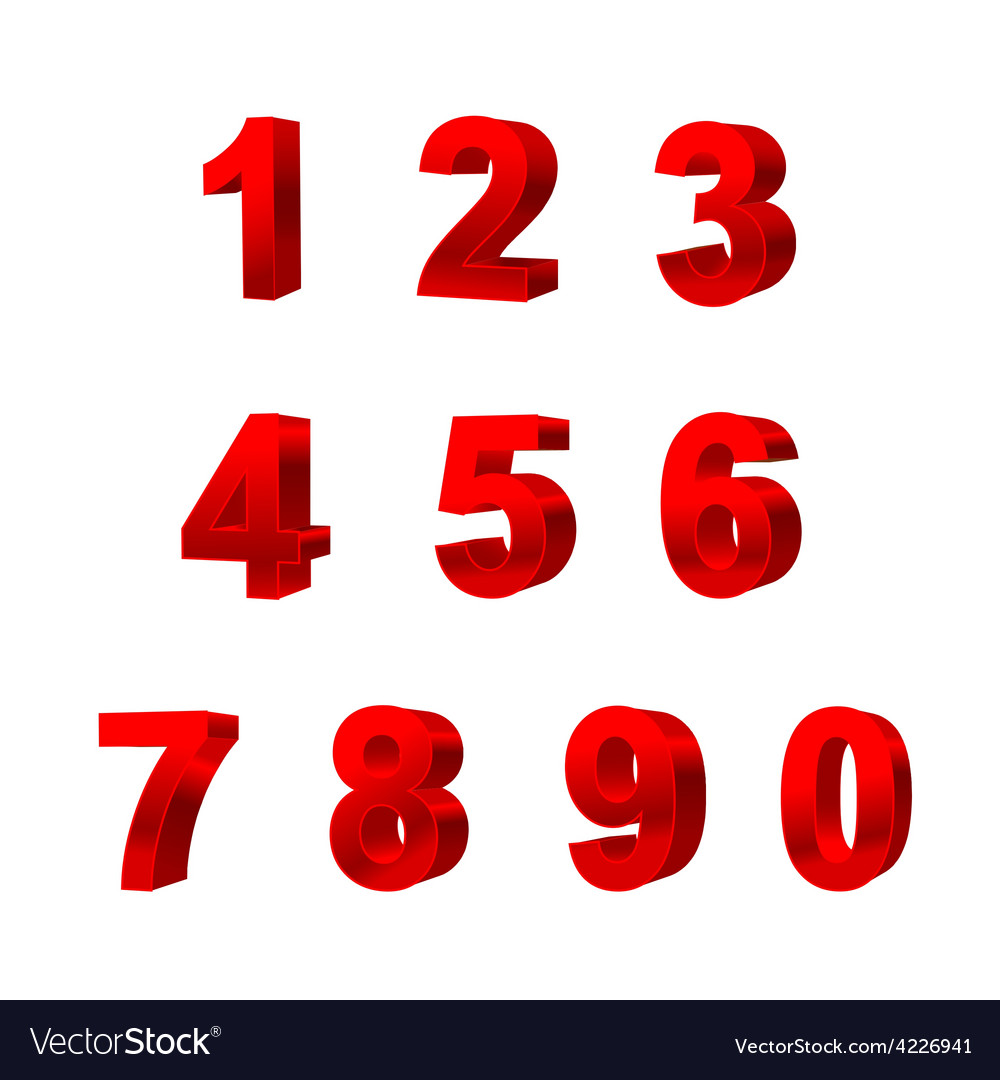 Collection of numbers isolated on white background vector | Price: 1 Credit (USD $1)