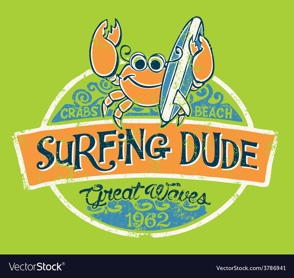 Cute crab surfer vector | Price: 1 Credit (USD $1)