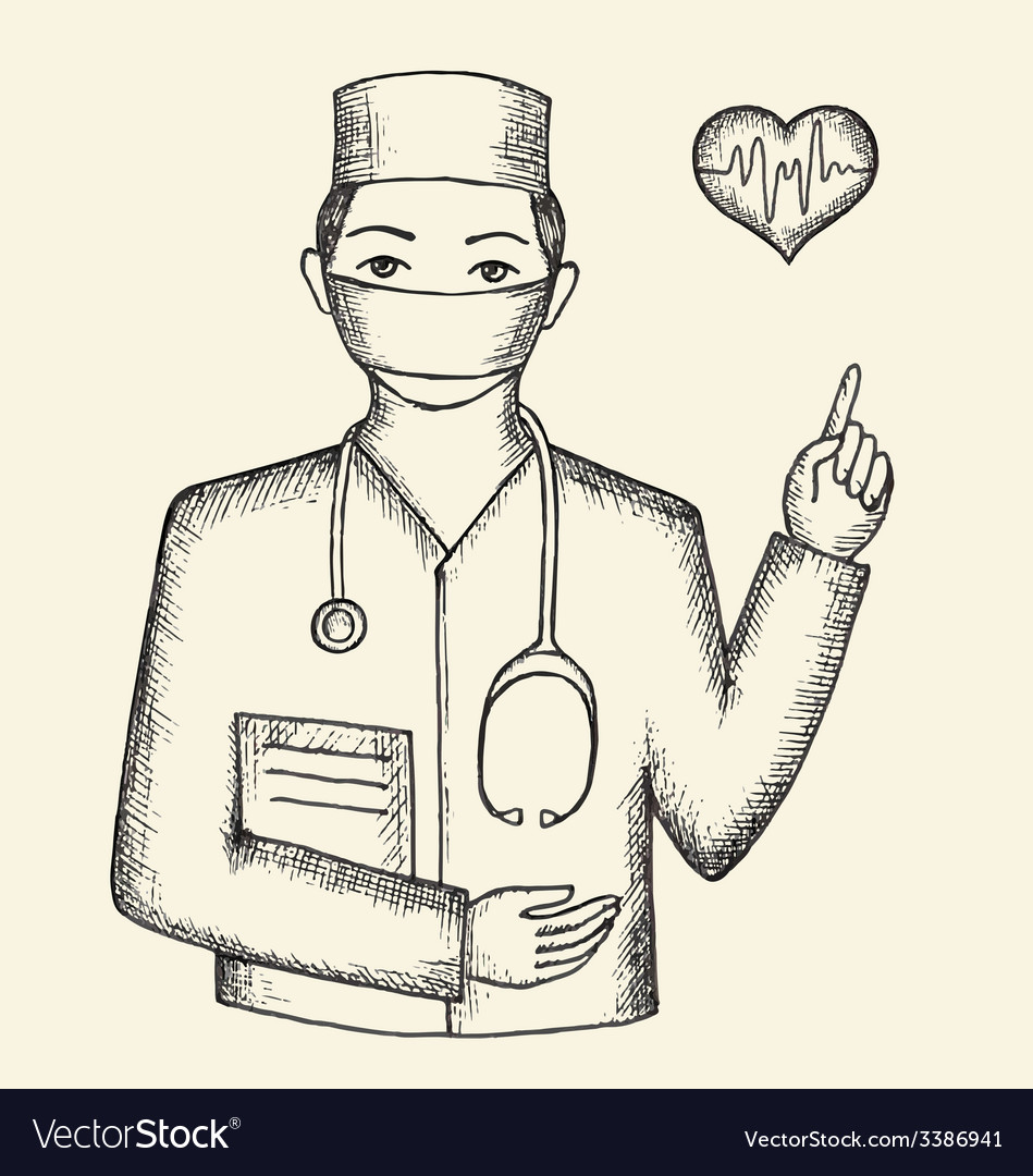 Drawing from the hands of the doctor and hearts vector | Price: 1 Credit (USD $1)