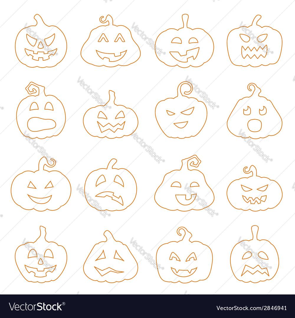 Halloween decorating jack-o-lantern silhouette set vector | Price: 1 Credit (USD $1)
