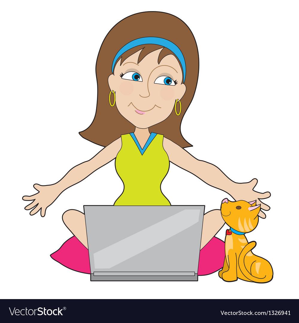Happy laptop lady vector | Price: 1 Credit (USD $1)