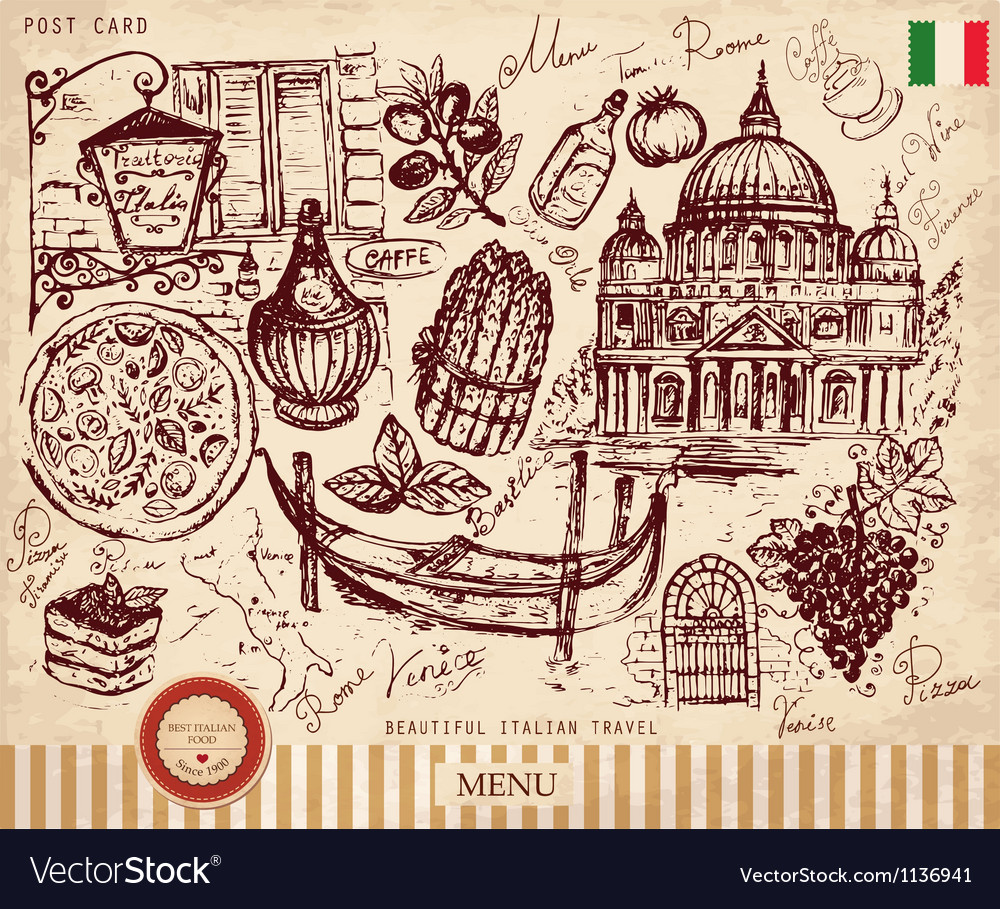 Italy postcard vector | Price: 1 Credit (USD $1)