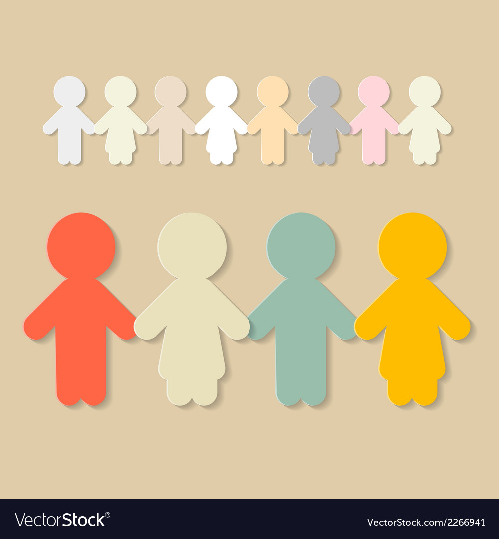 Paper people holding hands vector | Price: 1 Credit (USD $1)