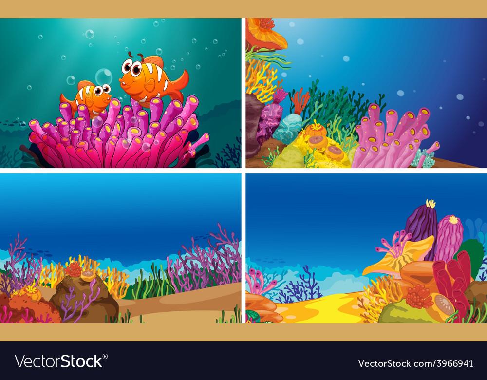 Underwater scenes vector | Price: 3 Credit (USD $3)