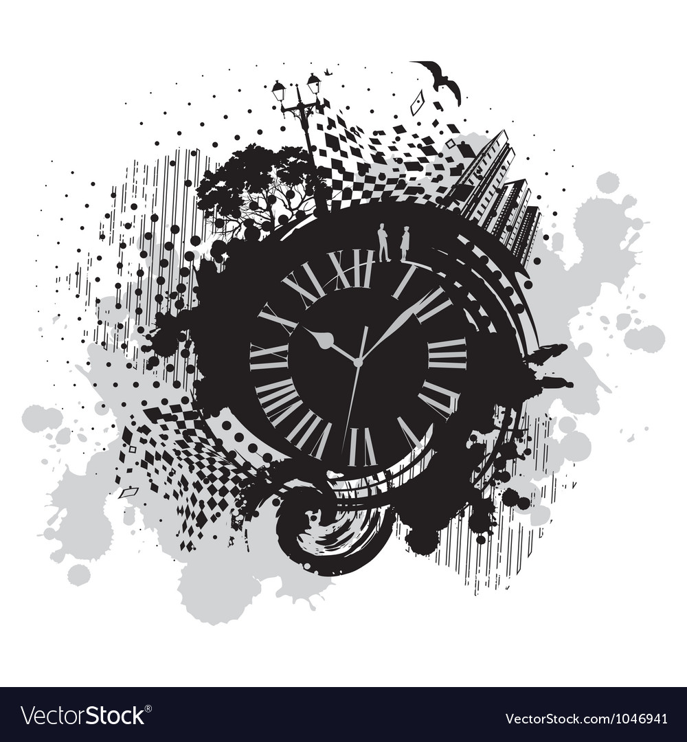 Vintage wallpaper background with clock vector | Price: 1 Credit (USD $1)
