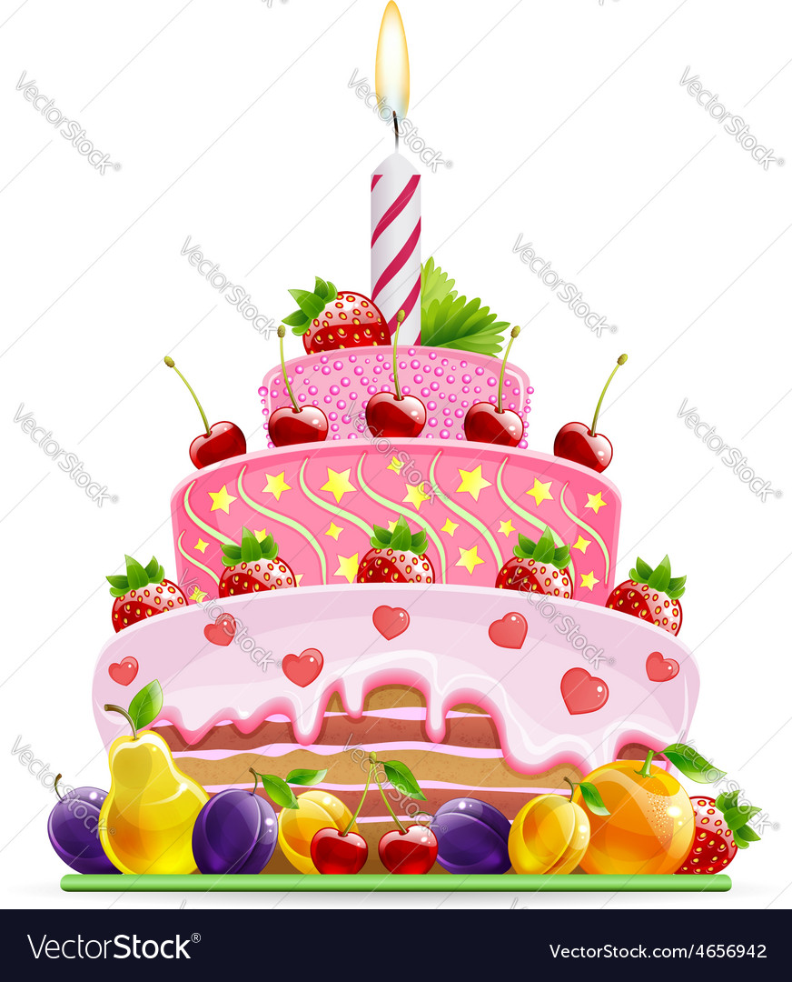 Cake with fruit vector | Price: 3 Credit (USD $3)
