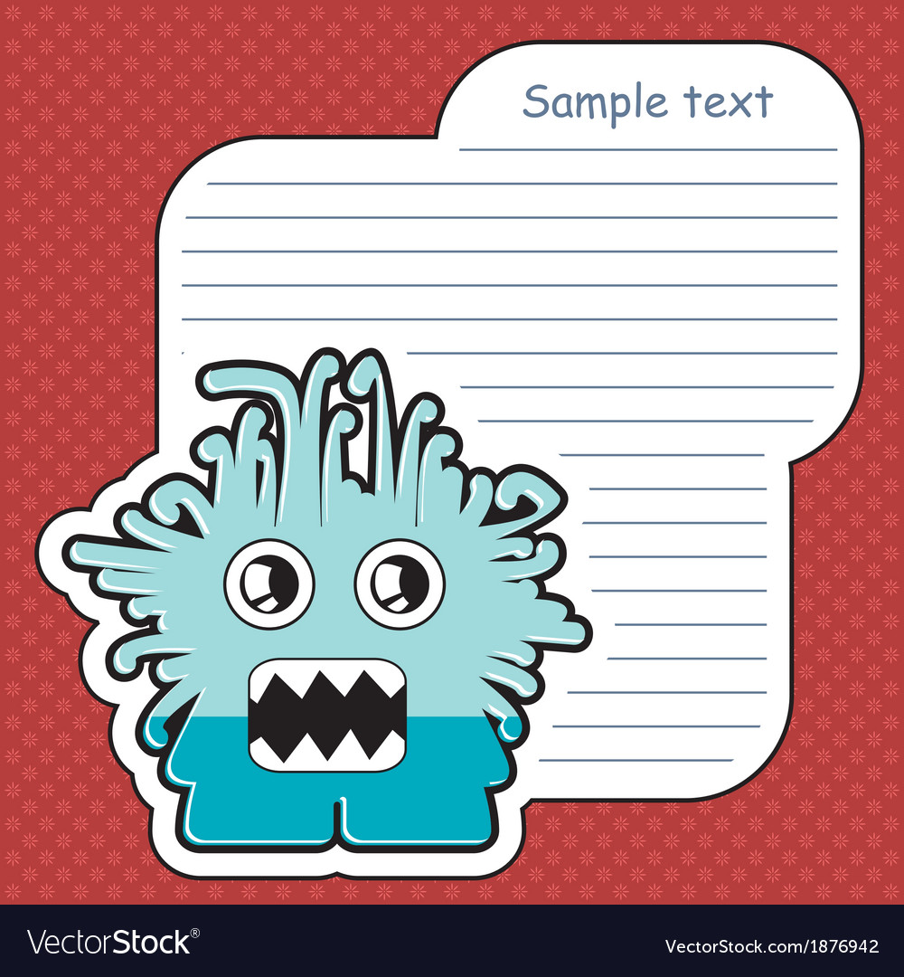 Cartoon monster with message cloud vector | Price: 1 Credit (USD $1)