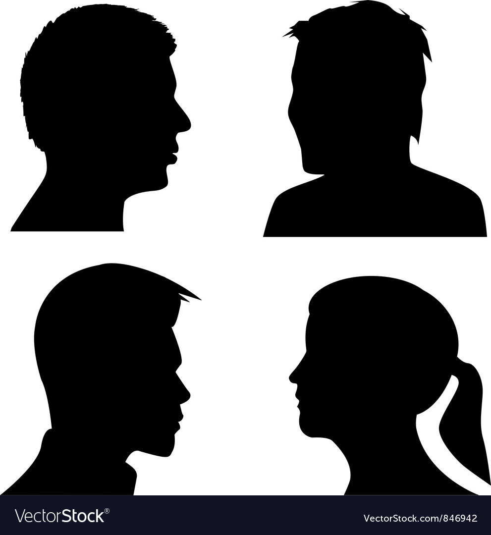 Face profile silhouettes vector | Price: 1 Credit (USD $1)