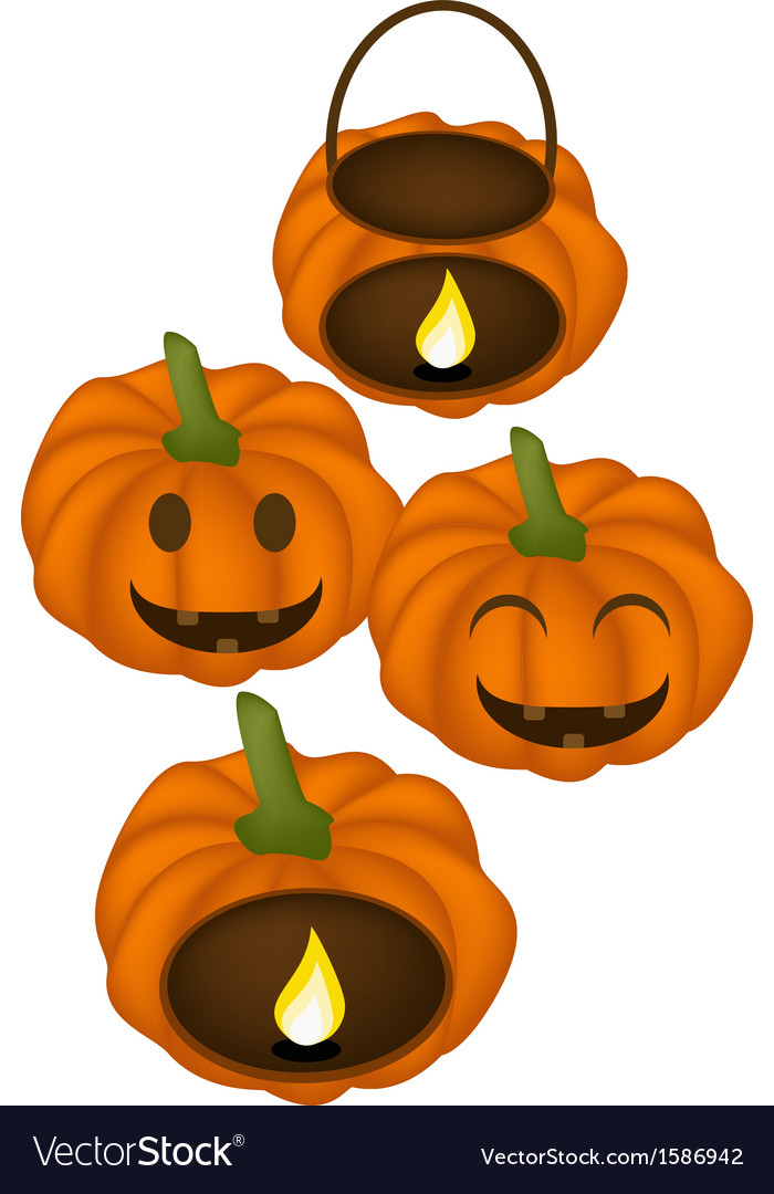 Four jack-o-lantern pumpkins with candle light vector | Price: 1 Credit (USD $1)