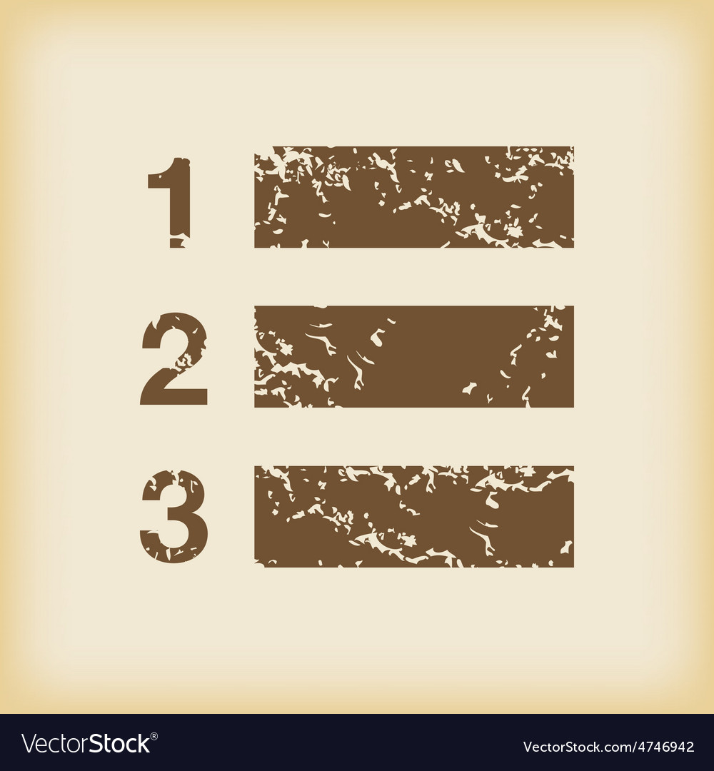 Grungy numbered list icon vector | Price: 1 Credit (USD $1)
