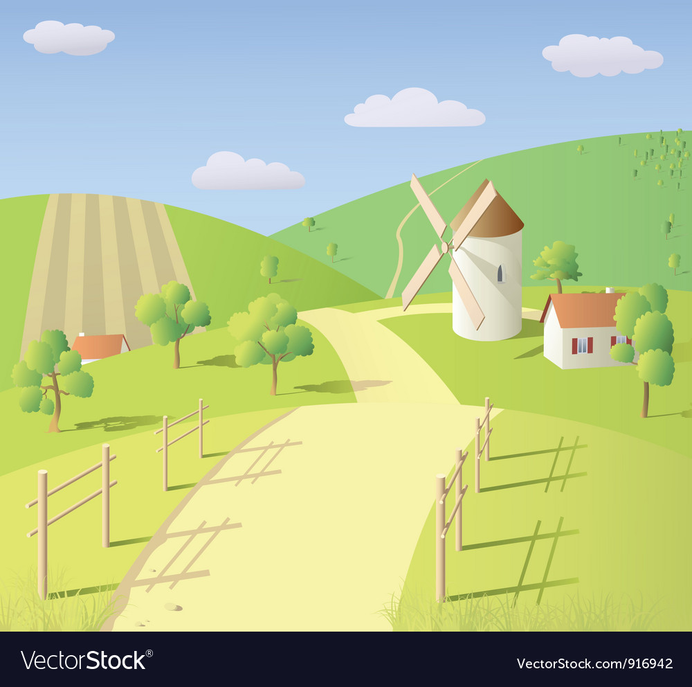 Landscape with mill vector | Price: 1 Credit (USD $1)