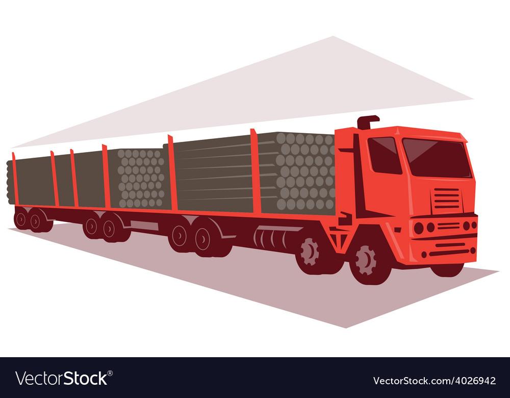 Logging truck and trailer retro style vector | Price: 1 Credit (USD $1)
