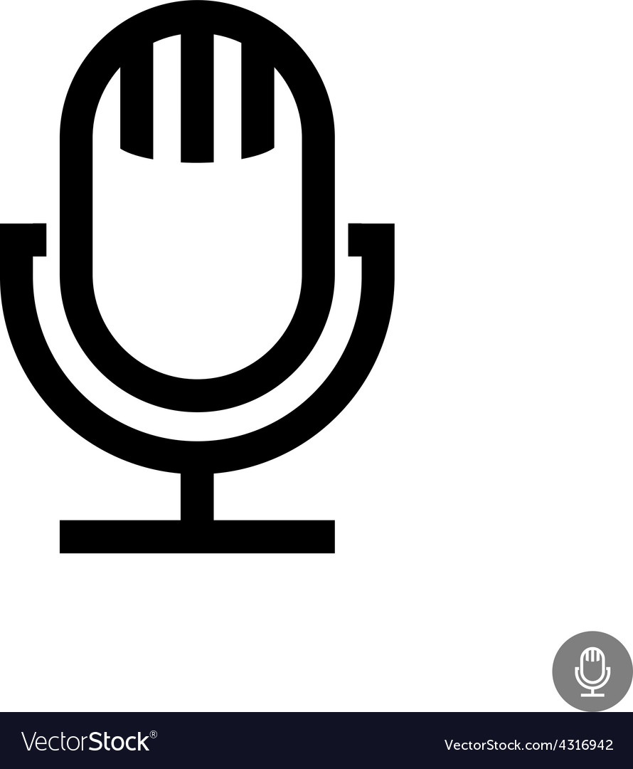 Microphone icon isolated on a white background vector | Price: 1 Credit (USD $1)