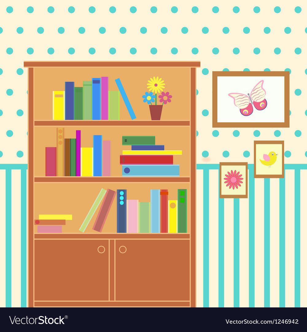 Room with bookcase vector | Price: 1 Credit (USD $1)
