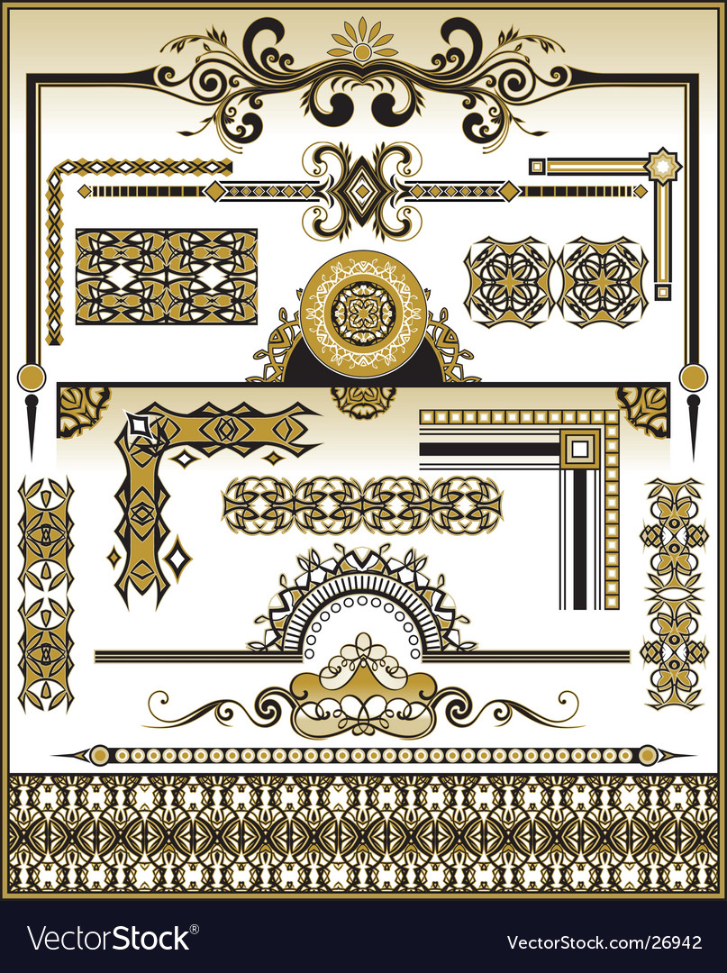 Set floral elements vector | Price: 1 Credit (USD $1)