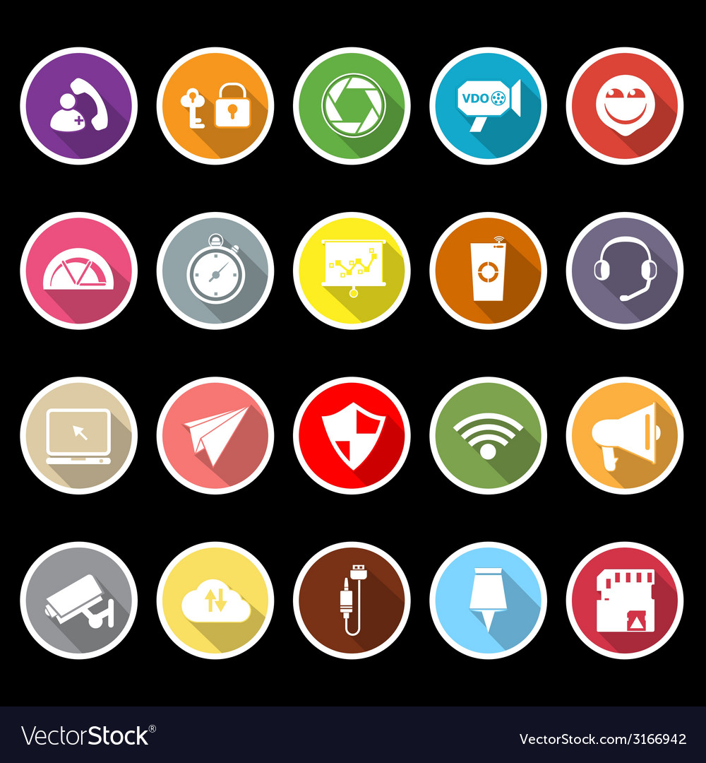 Smart phone screen flat icons with long shadow vector | Price: 1 Credit (USD $1)