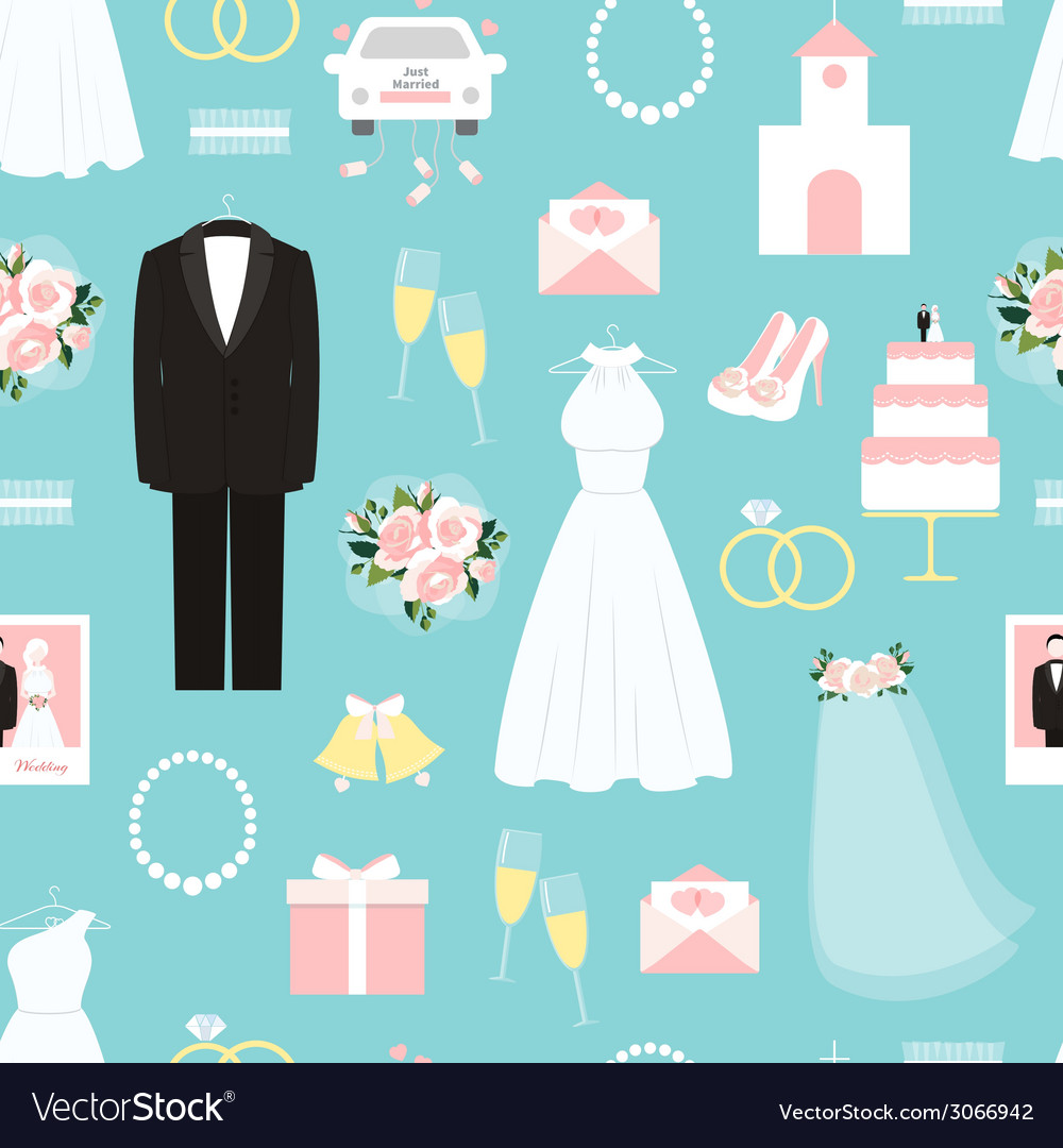 Wedding seamless background pattern vector | Price: 1 Credit (USD $1)