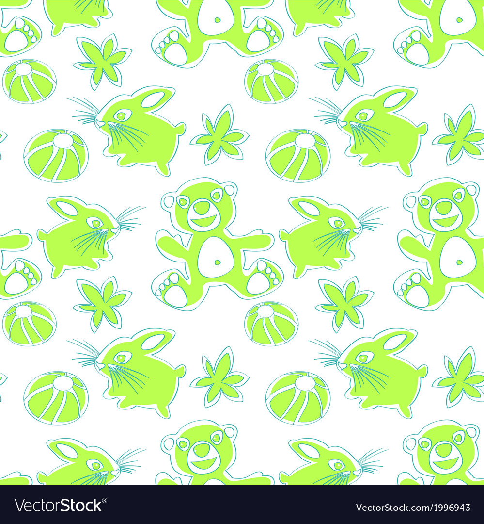 Bunny and bear seamless pattern vector | Price: 1 Credit (USD $1)