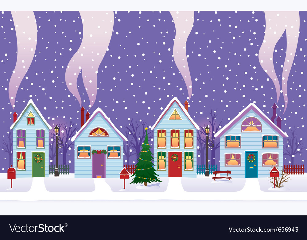 Christmas eve in the city vector | Price: 1 Credit (USD $1)