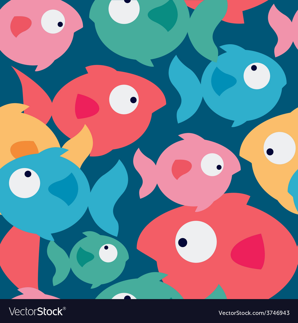 Cute fishes seamless pattern vector | Price: 1 Credit (USD $1)