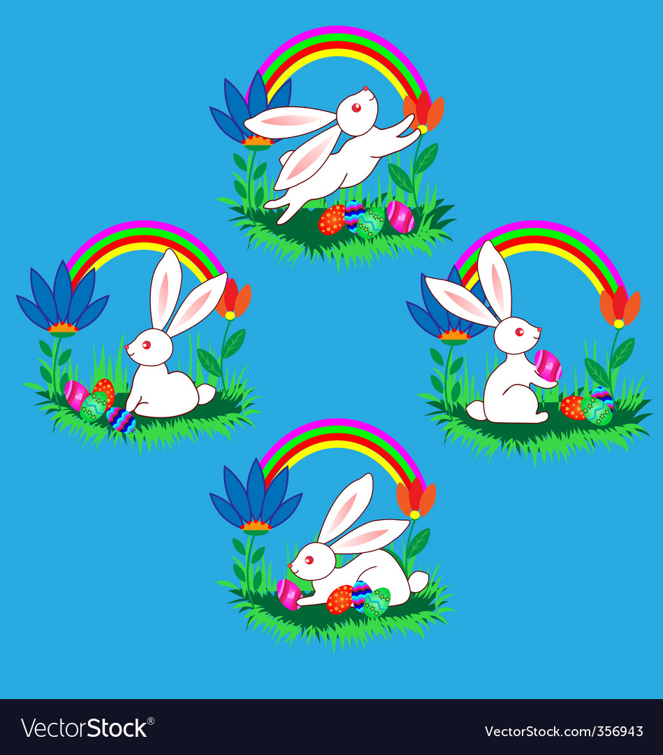 Easter bunnies with eggs flow vector | Price: 1 Credit (USD $1)