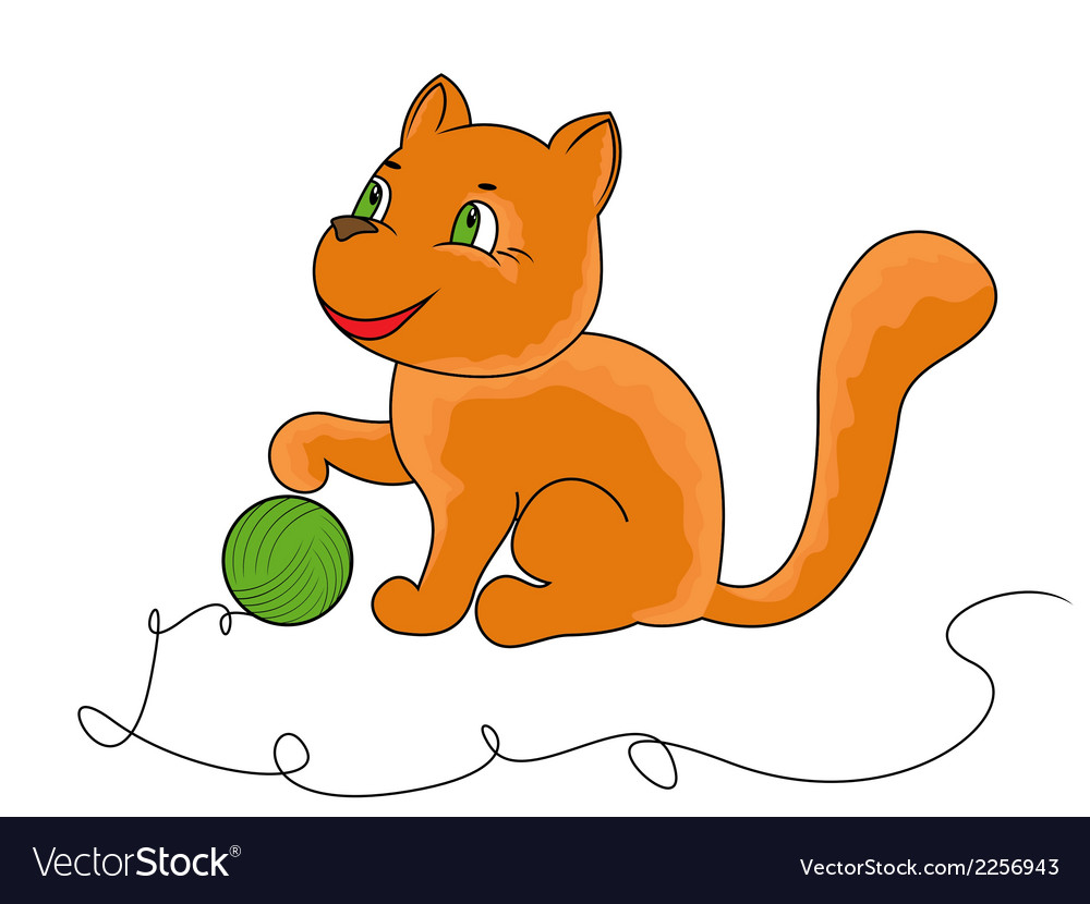 Little funny cat plays with a ball of yarn vector | Price: 1 Credit (USD $1)
