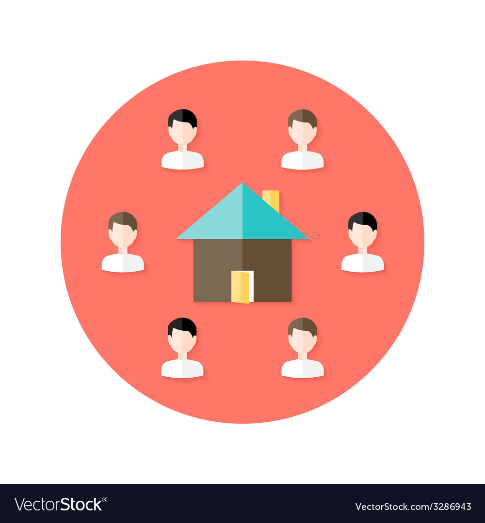 Real estate open house with people circle flat vector | Price: 1 Credit (USD $1)