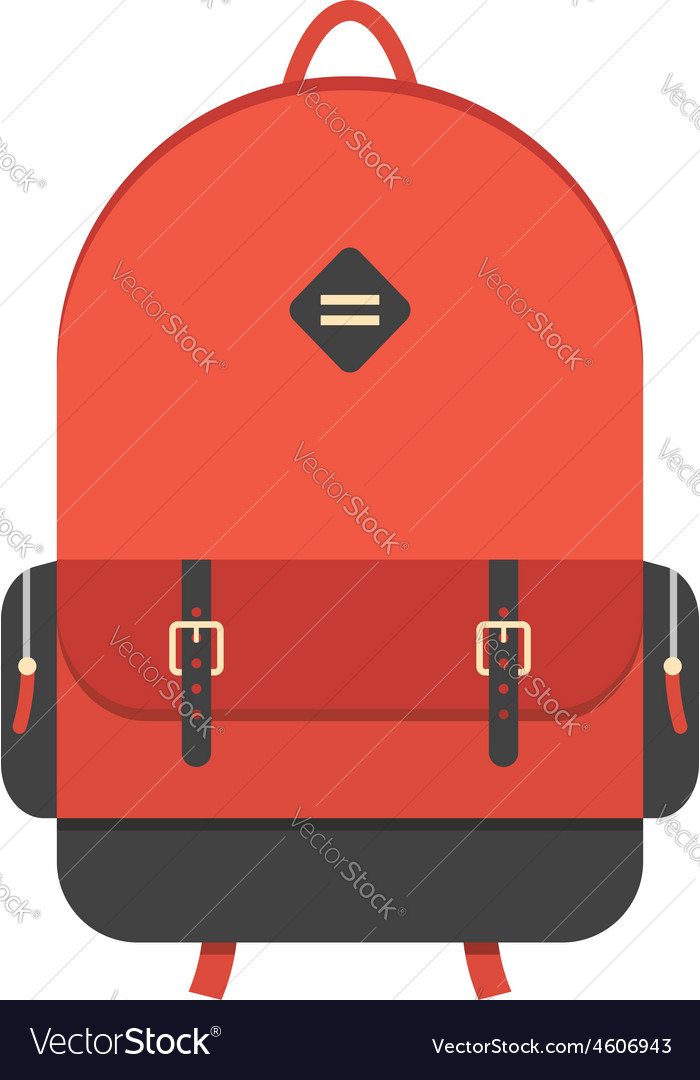 Red backpack isolated on white background vector | Price: 1 Credit (USD $1)