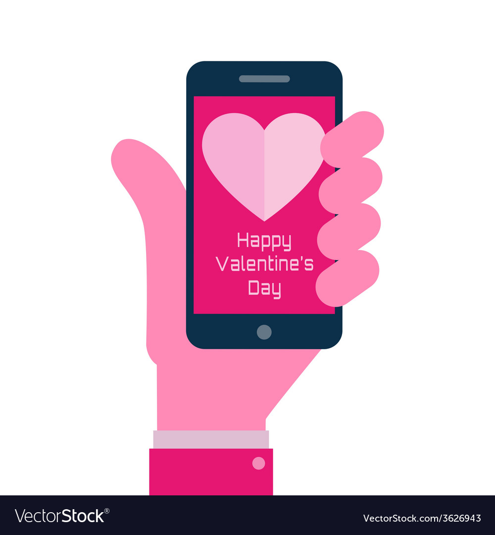 Valentines day - smartphone on hand flat icon vector | Price: 1 Credit (USD $1)