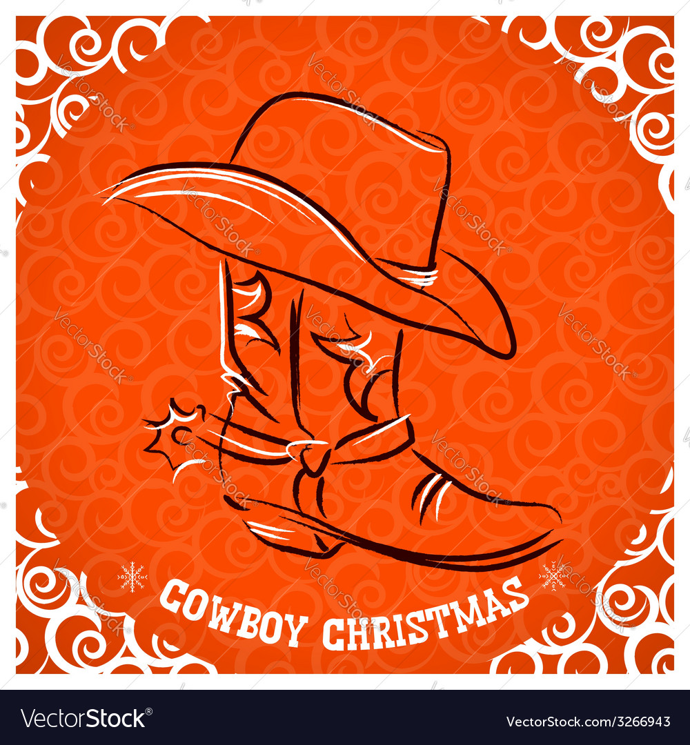 Western new year with cowboy boot and western hat vector   Price: 1 Credit (USD $1)