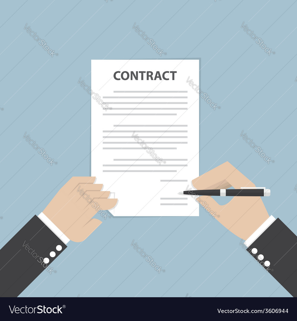 Businessman hand holding pen and signing business vector | Price: 1 Credit (USD $1)