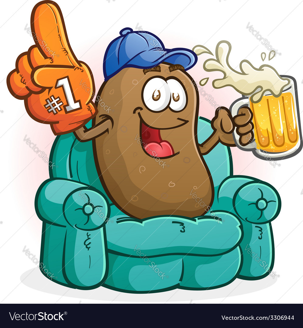 Couch potato sports fan cartoon character vector | Price: 3 Credit (USD $3)