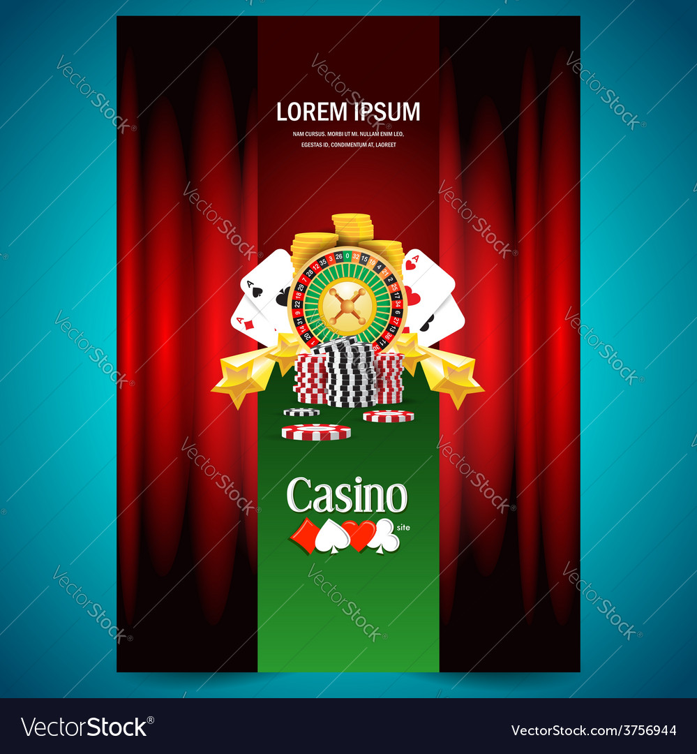 Cover poster face casino european roulette money vector | Price: 3 Credit (USD $3)
