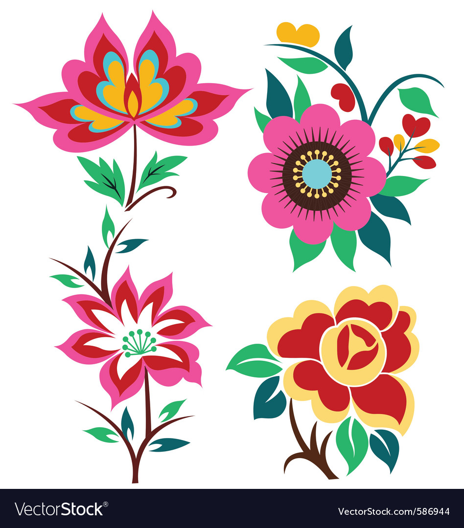 Creative flower set vector | Price: 1 Credit (USD $1)